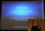 Still frame from: Code4Lib 2009: FreeCite - An Open Source Free-Text Citation Parser