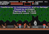 Still frame from: NES Castlevania 'no subweapons, no damage' by scrimpeh in 13:18.43
