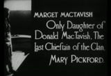 Still frame from: Pride of the Clan (1917, Mary Pickford, silent film)