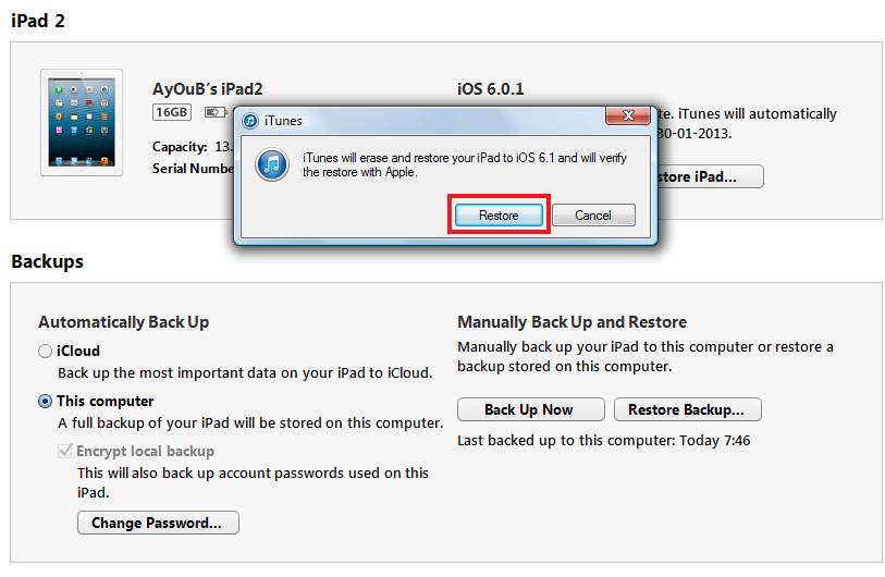 RestoreIos6.1Appscart.2 حل مشكلة توقف الايفون على التفاحة بعد جيلبريك iOS 7