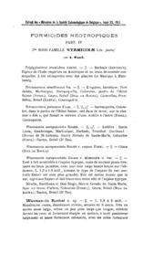Formicides néotropiques. Part IV. 3me sous-famille Myrmicinae Lep. (suite)