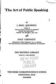 The Art Of Public Speaking Joseph Berg Esenwein Dale Carnegie