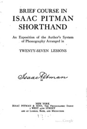 Brief Course In Isaac Pitman Shorthand Isaac Pitman Sir Isaac