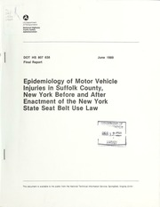 Epidemiology Of Motor Vehicle Injuries In Suffolk County New York Before And After Enactment The State Seat Belt Use Law Barancik