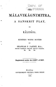 The Malavikagnimitra A Sanskrit Play Kalidasa Free Download