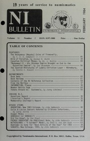 Numismatics International Bulletin, Vol. 18, No.2