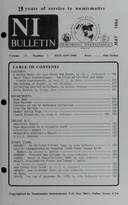 Numismatics International Bulletin, Vol. 18, No.5
