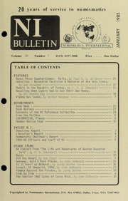 Numismatics International Bulletin, Vol. 19, No.1