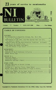 Numismatics International Bulletin, Vol. 22, No.5