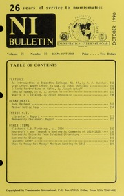 Numismatics International Bulletin, Vol. 25, No.10