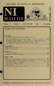 Numismatics International Bulletin, Vol. 26, No.9