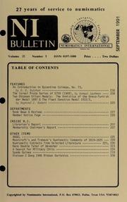 Numismatics International Bulletin, Vol. 26, No.9
