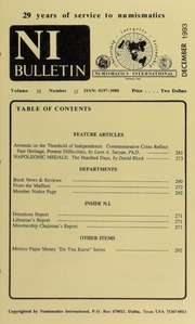 Numismatics International Bulletin, Vol. 28, No.12