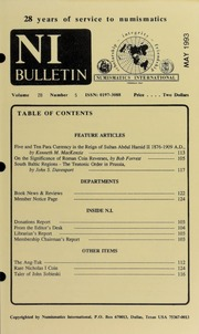 Numismatics International Bulletin, Vol. 28, No.5