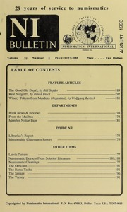 Numismatics International Bulletin, Vol. 28, No.8