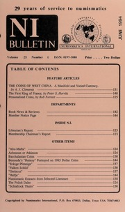 Numismatics International Bulletin, Vol. 29, No.6