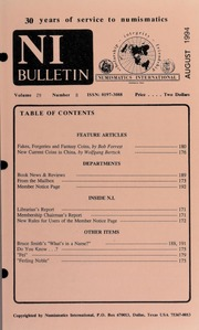 Numismatics International Bulletin, Vol. 29, No.8