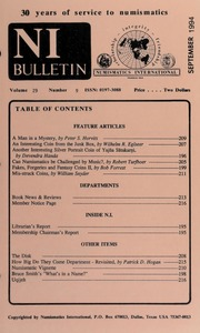 Numismatics International Bulletin, Vol. 29, No.9