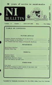 Numismatics International Bulletin, Vol. 30, No.1