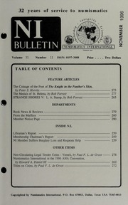 Numismatics International Bulletin, Vol. 31, No.11