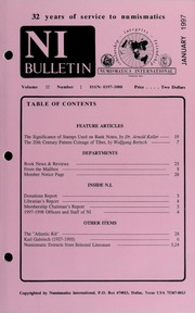 Numismatics International Bulletin, Vol. 32, No.1
