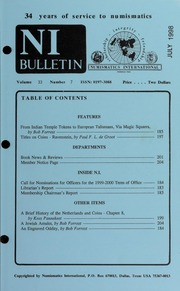 Numismatics International Bulletin, Vol. 33, No.7