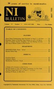 Numismatics International Bulletin, Vol. 34, No.5