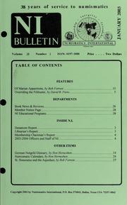 Numismatics International Bulletin, Vol. 38, No.1