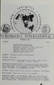 Numismatics International Bulletin, Vol. 4, No.10
