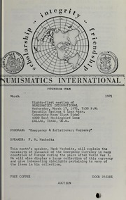 Numismatics International Bulletin, Vol. 5, No.3