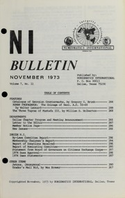 Numismatics International Bulletin, Vol. 7, No.11