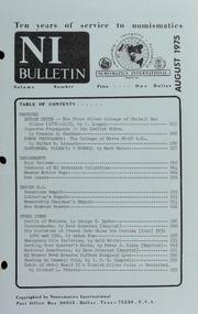 Numismatics International Bulletin, Vol. 9, No.8