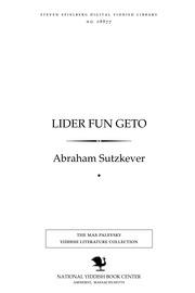 Thumbnail image for Lider fun geṭo