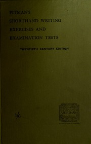 Pitman S Shorthand Writing Exercises And Examination Tests A Series
