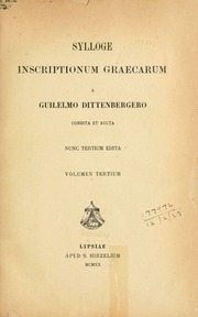 Dittenberger Sylloge cover