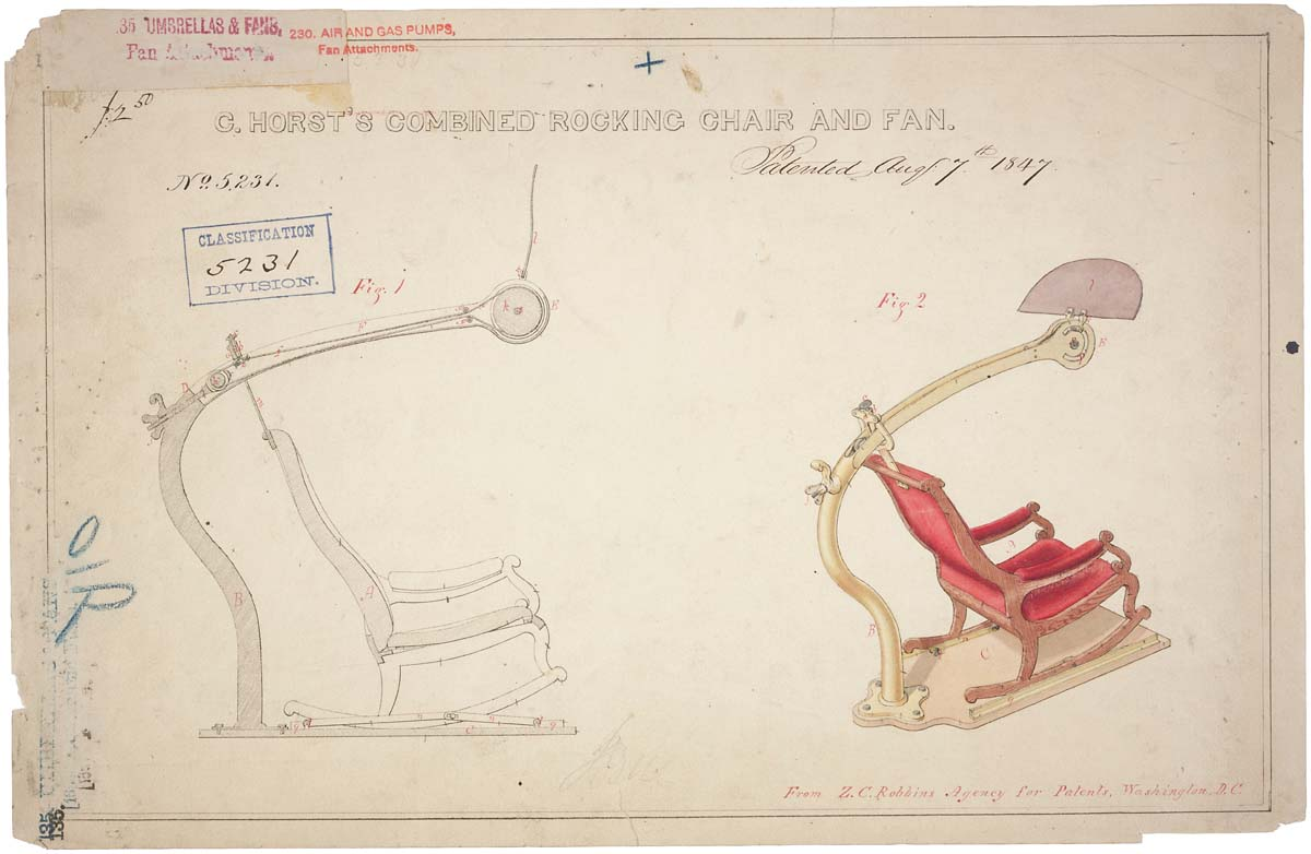 Drawing Of Rocking Chair And Fan 08 07 1847