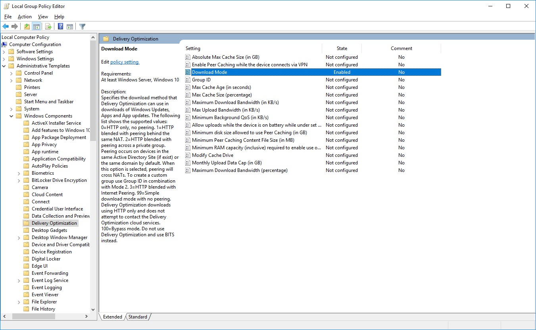 Windows 10 Update Download Mode (default is peer to peer