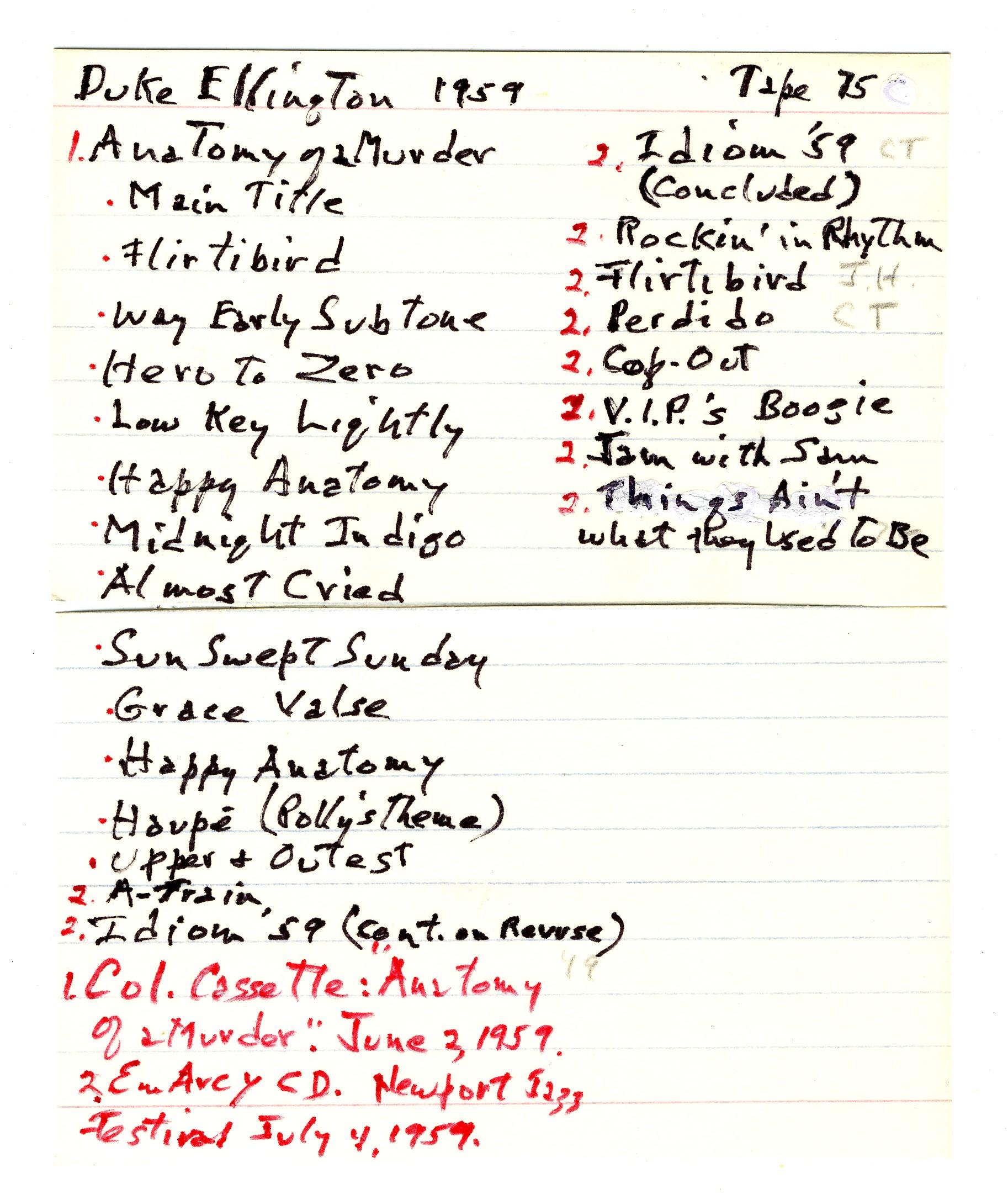Niven Jazz Collection: Duke Ellington Tape 75 (1959 ... | 1826 x 2173 jpeg 647kB