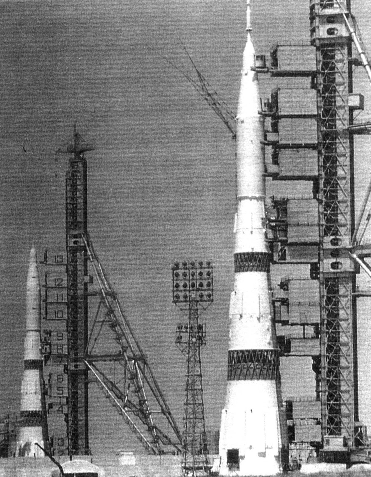 Two N1 Moon rockets on the pads at Baikonur, early July 1969 Booster number 5L is in the foreground Photo courtesy of NASA GPN-2002-000188.jpg