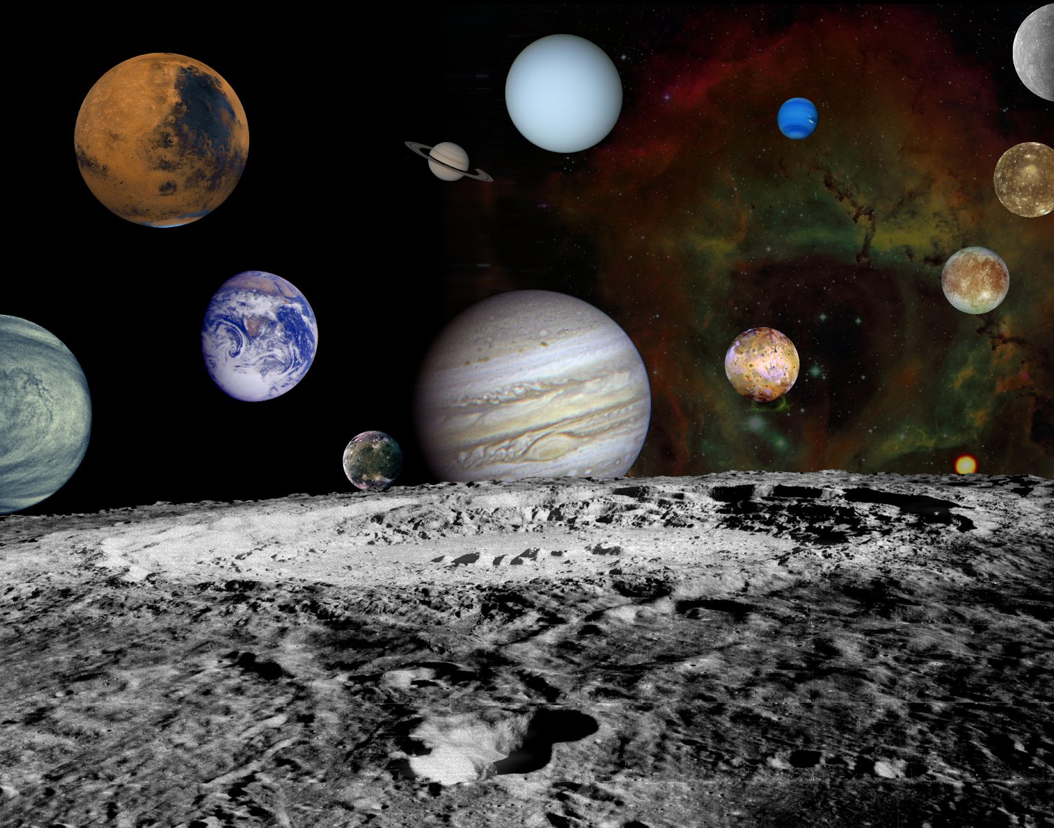 Solar System Montage of Voyager Images : NASA : Free Download