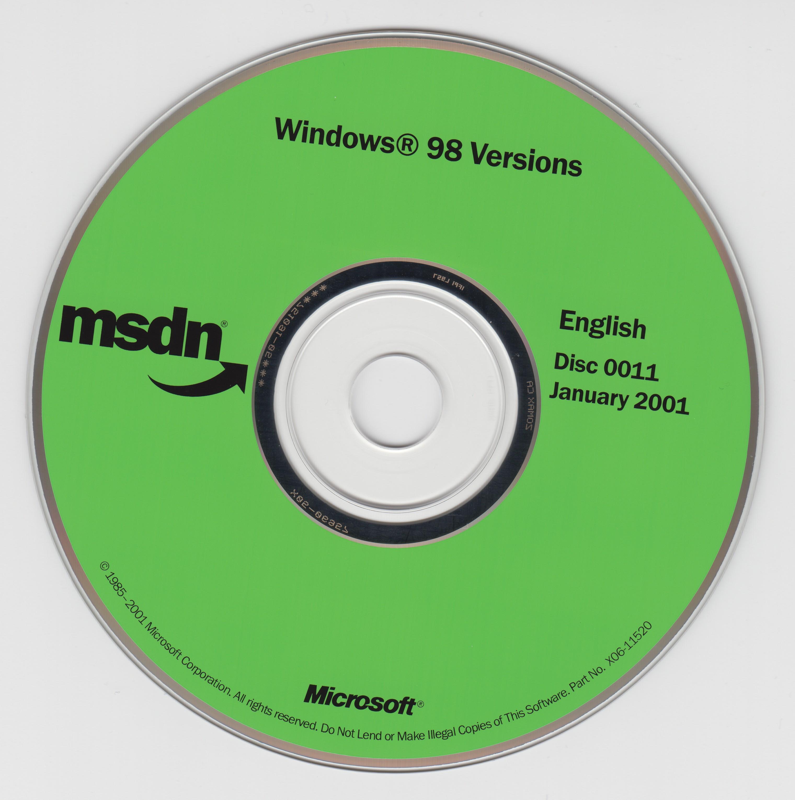 MSDN Windows 98 Disc 0011 January 2001 : Free Download, Borrow, and