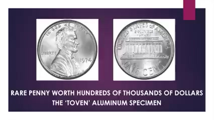 THE MOST VALUABLE PENNY IN EXISTENCE - 'Toven' 1974 Aluminum Error Penny