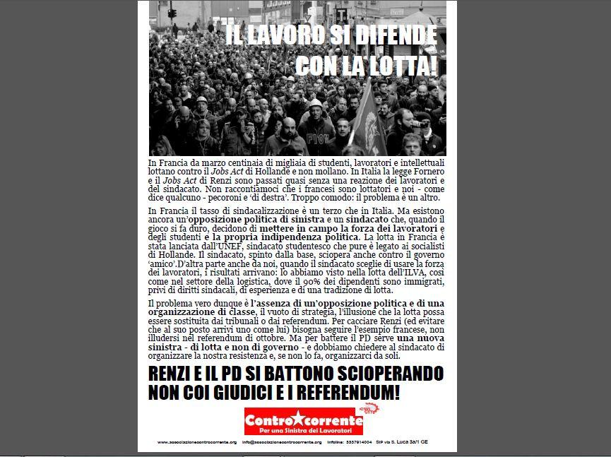 1 MAGGIO Renzi e il PD si battono scioperando, non coi giudici e i referendum!