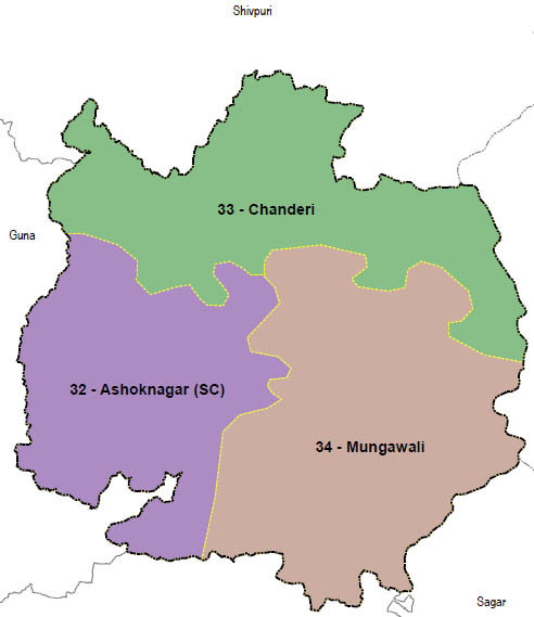 Ashoknagar district wise constituency Madhya Pradesh Election 2018 map image मध्य प्रदेश चुनाव 2018