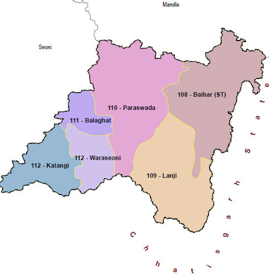 Balaghat district wise constituency Madhya Pradesh Election 2018 map image मध्य प्रदेश चुनाव 2018