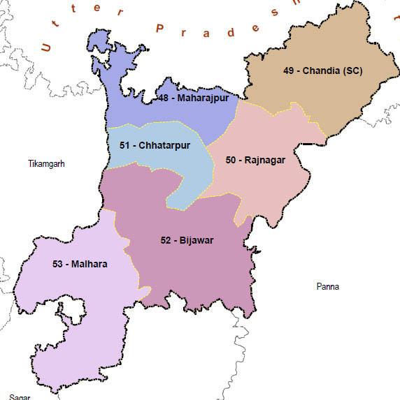 Chhatarpur district wise constituency Madhya Pradesh Election 2018 map image मध्य प्रदेश चुनाव 2018