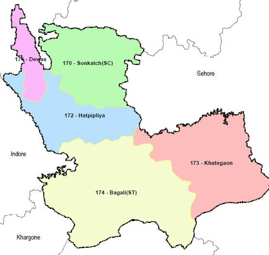 Dewas district wise constituency Madhya Pradesh Election 2018 map image मध्य प्रदेश चुनाव 2018