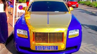 Gold and Blue Rolls Royce
