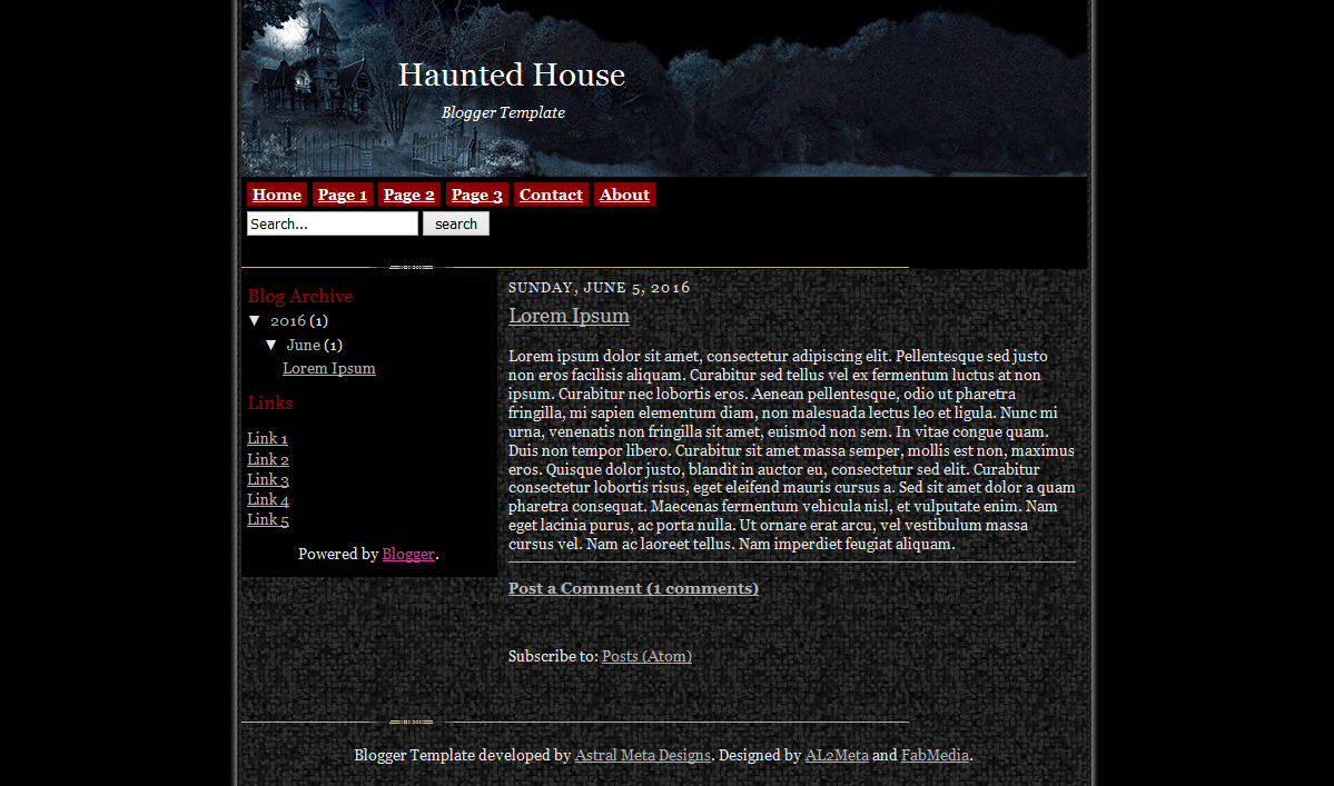 Haunted House Blogger Template