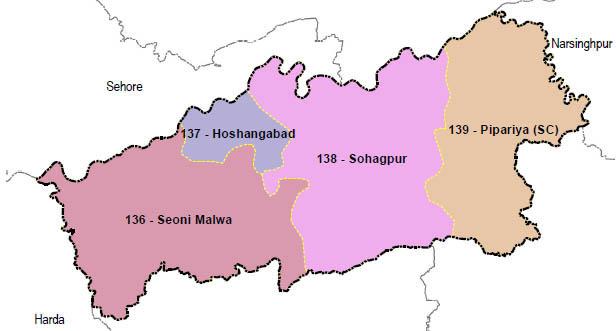 Hoshangabad district wise constituency Madhya Pradesh Election 2018 map image मध्य प्रदेश चुनाव 2018